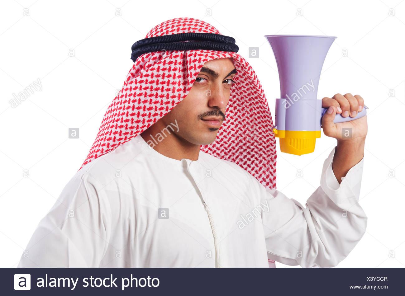 Arab man shouting through loudspeaker - Stock Image