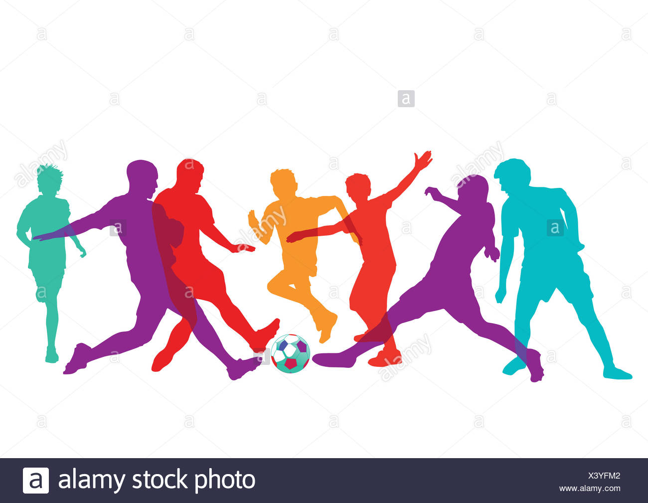 Football players on the field - Stock Image