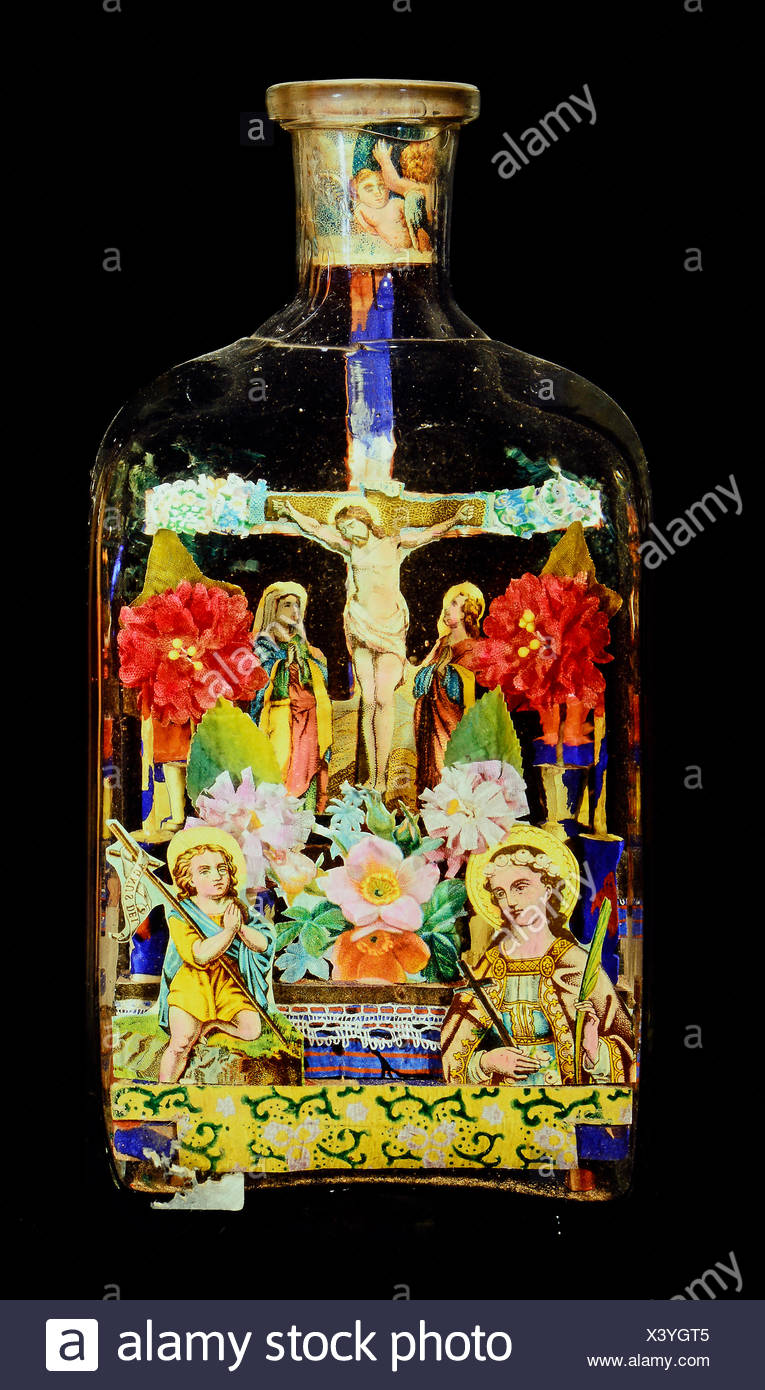 fine arts, folk art, impossible bottle with crucifixion, glass, paper, Black Forest, 19th century, private collection, Switzerland, Artist's Copyright has not to be cleared - Stock Image