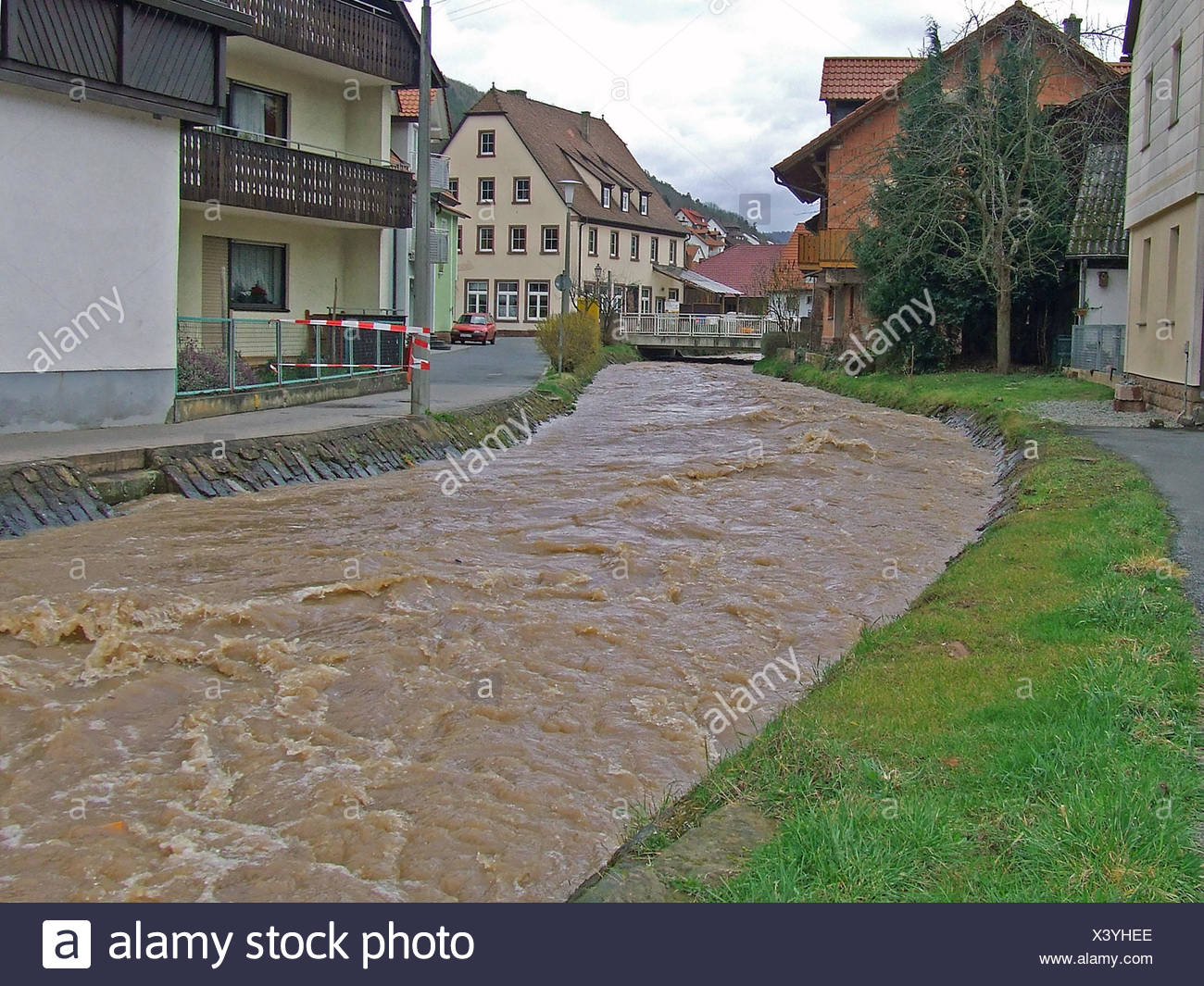 waters stream thunder-storm flood catastrophe natural disaster water nature Stock Photo
