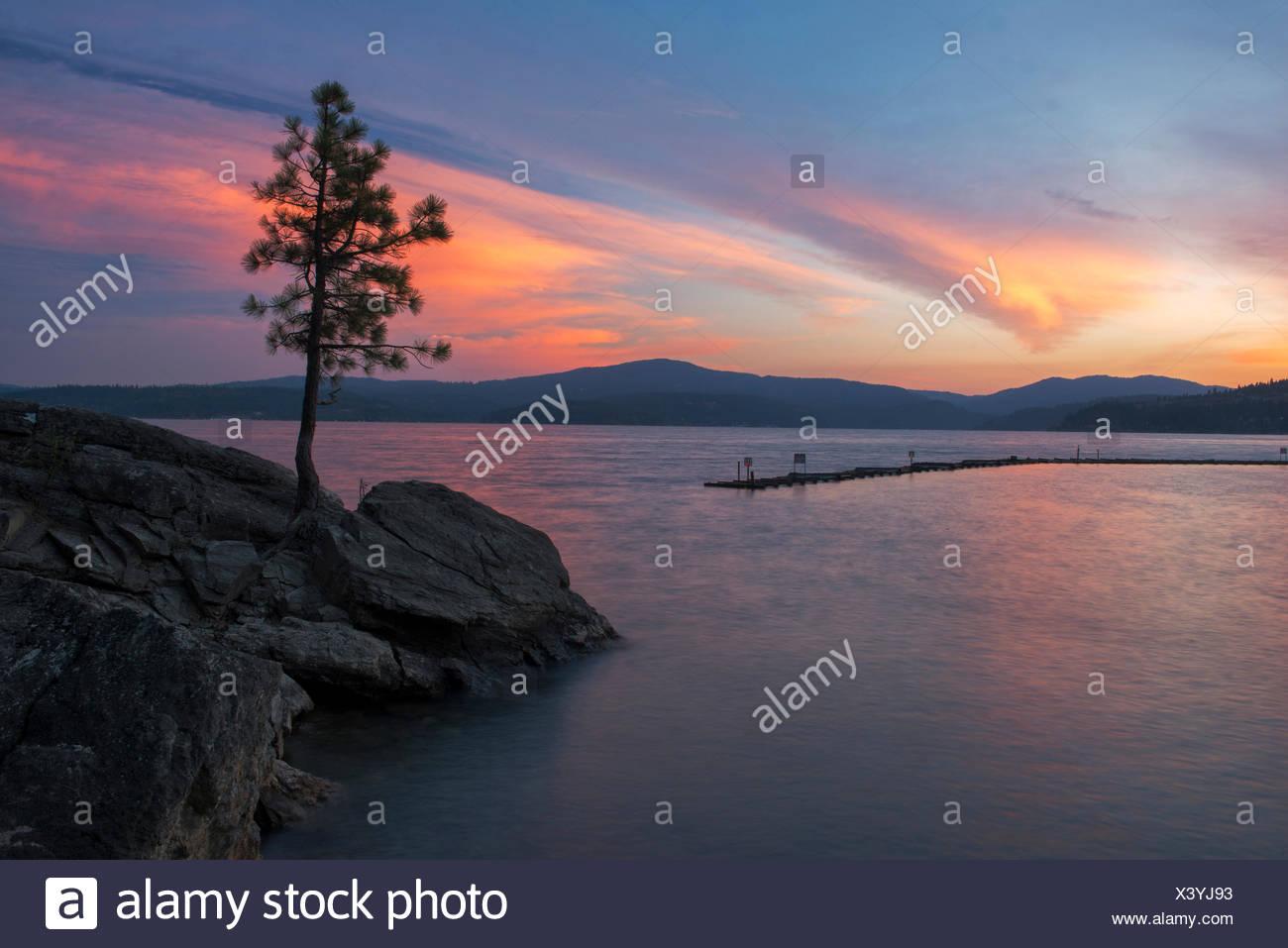 USA, United States, America, Idaho, Coeur d'Alene, shore, Rockies, rocky mountains, sunset, ship, lakefront, evening, pine tree, - Stock Image