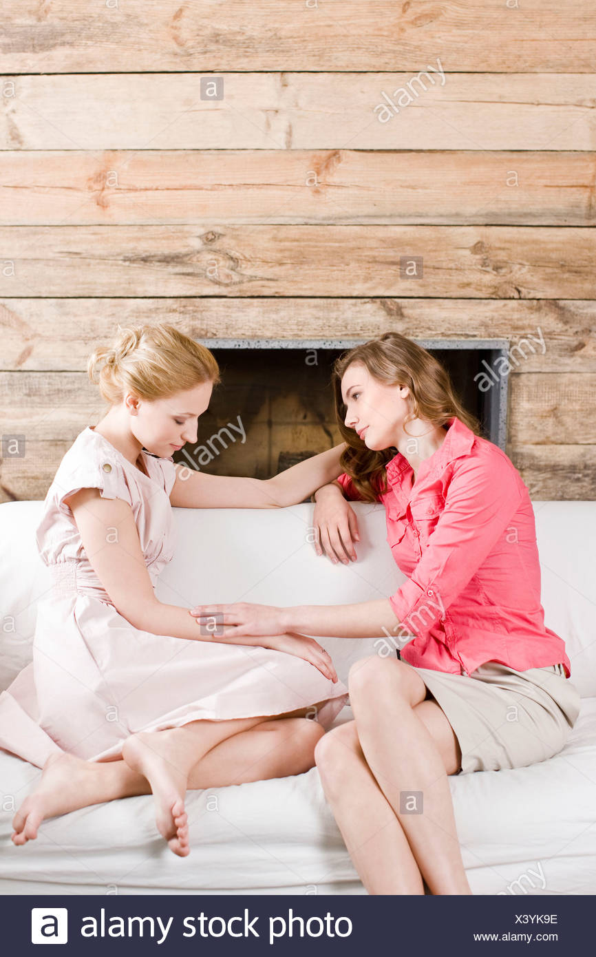 Two woman having conversation - Stock Image