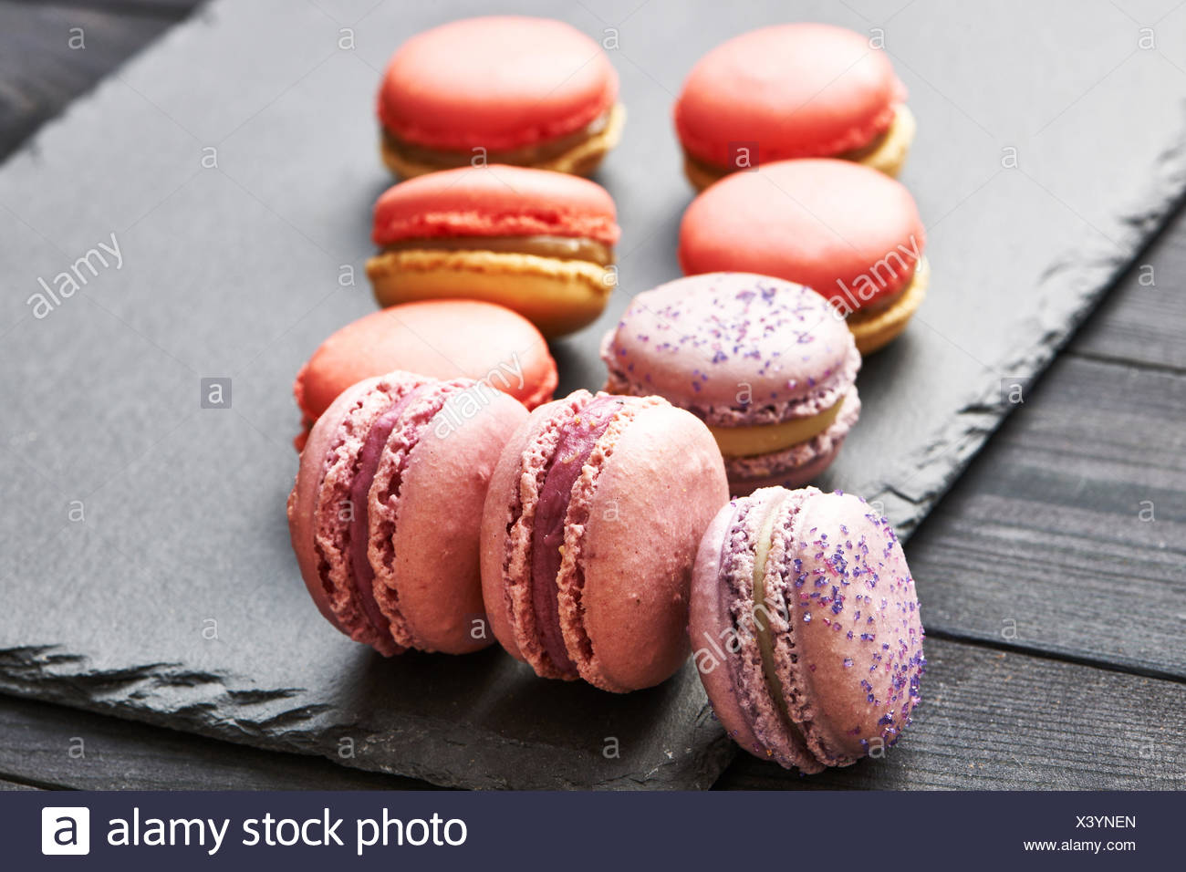 French delicious dessert macaroons - Stock Image