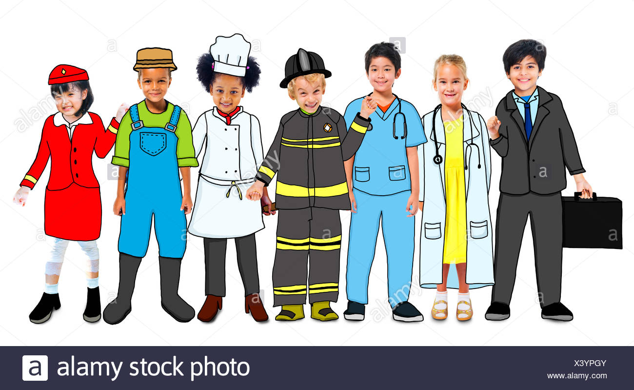 Multiethnic Group Of Children With Future Career In Photo And Illustration Stock Photo Alamy