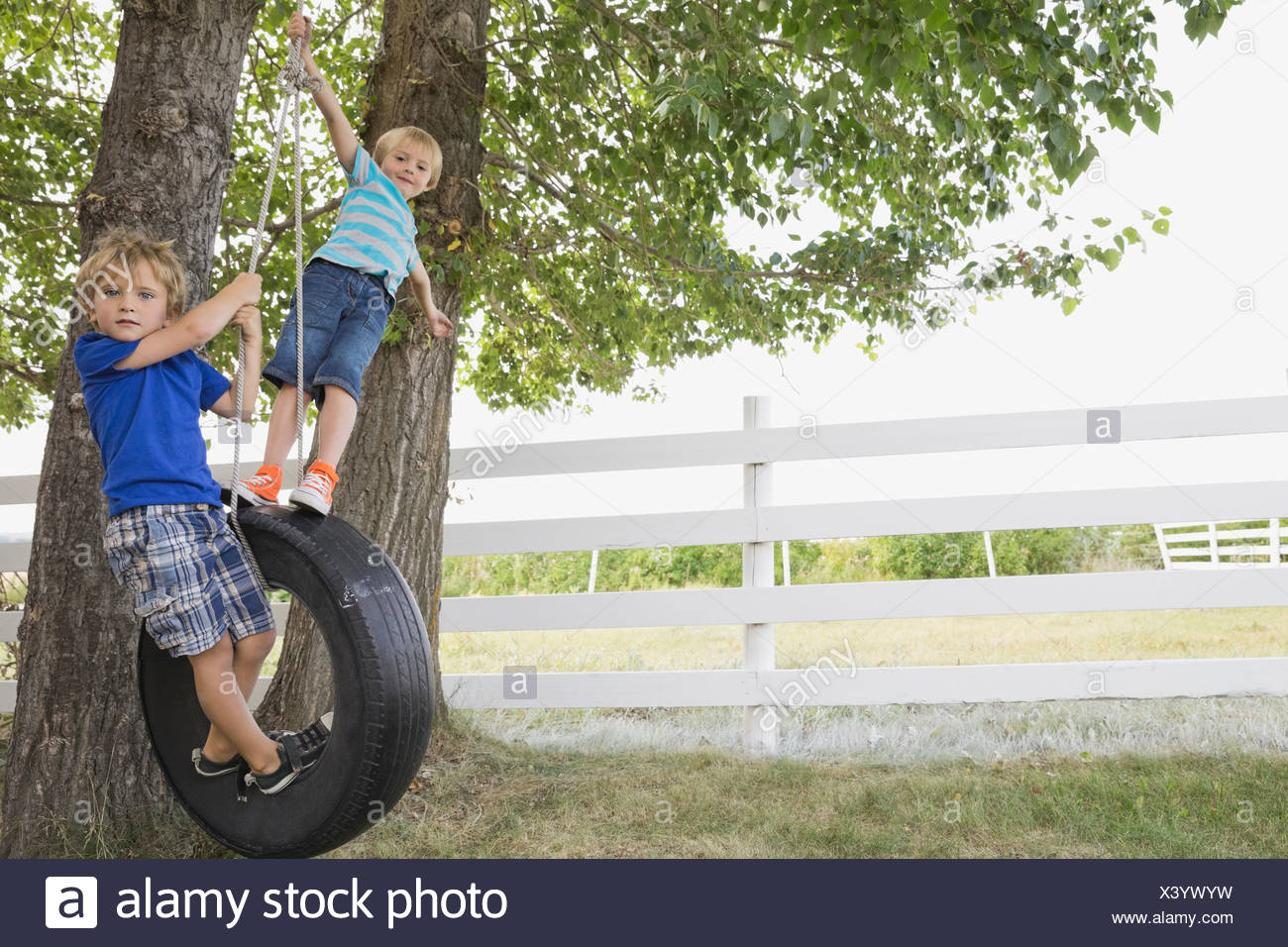 Playful boys standing on tire swing Stock Photo