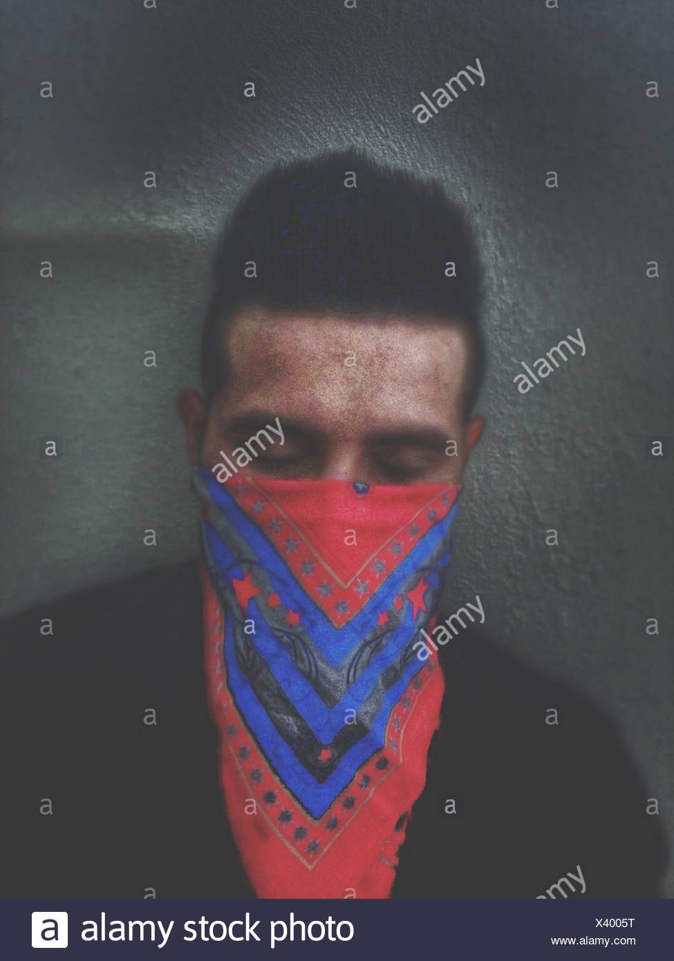 Front View Of Man With Handkerchief On Face - Stock Image