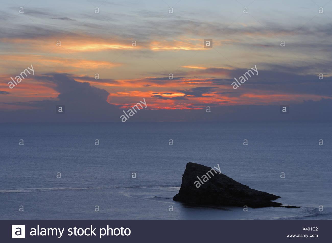 Sea, coast, bile coast, bile, afterglow, France, Brittany - Stock Image