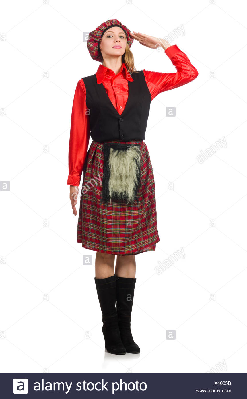 Funny woman in scottish clothing on white Stock Photo