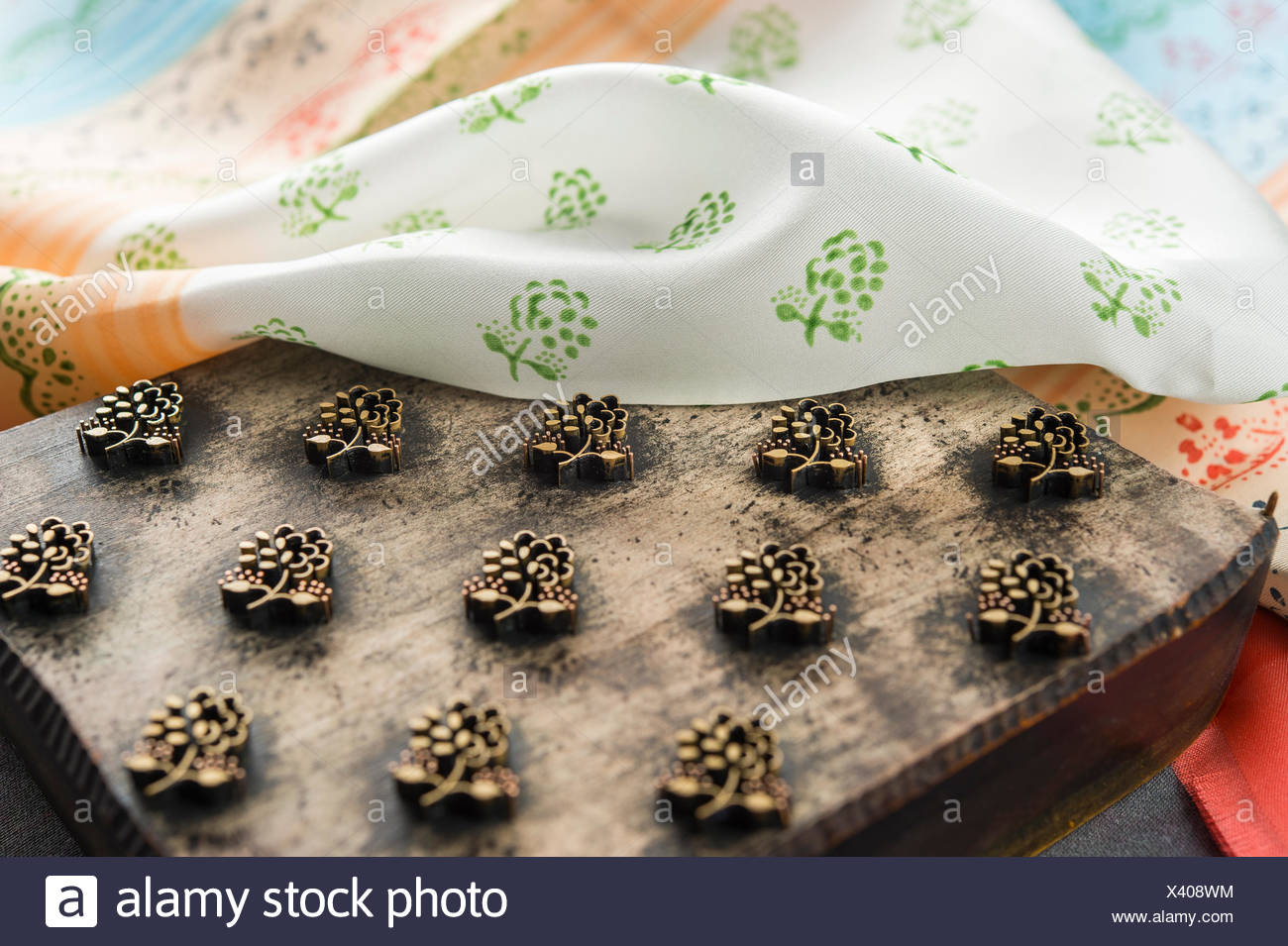 Block Printing Woodblock With Pattern And Finished Printed Fabric Bad Aussee Styria Austria Stock Photo Alamy