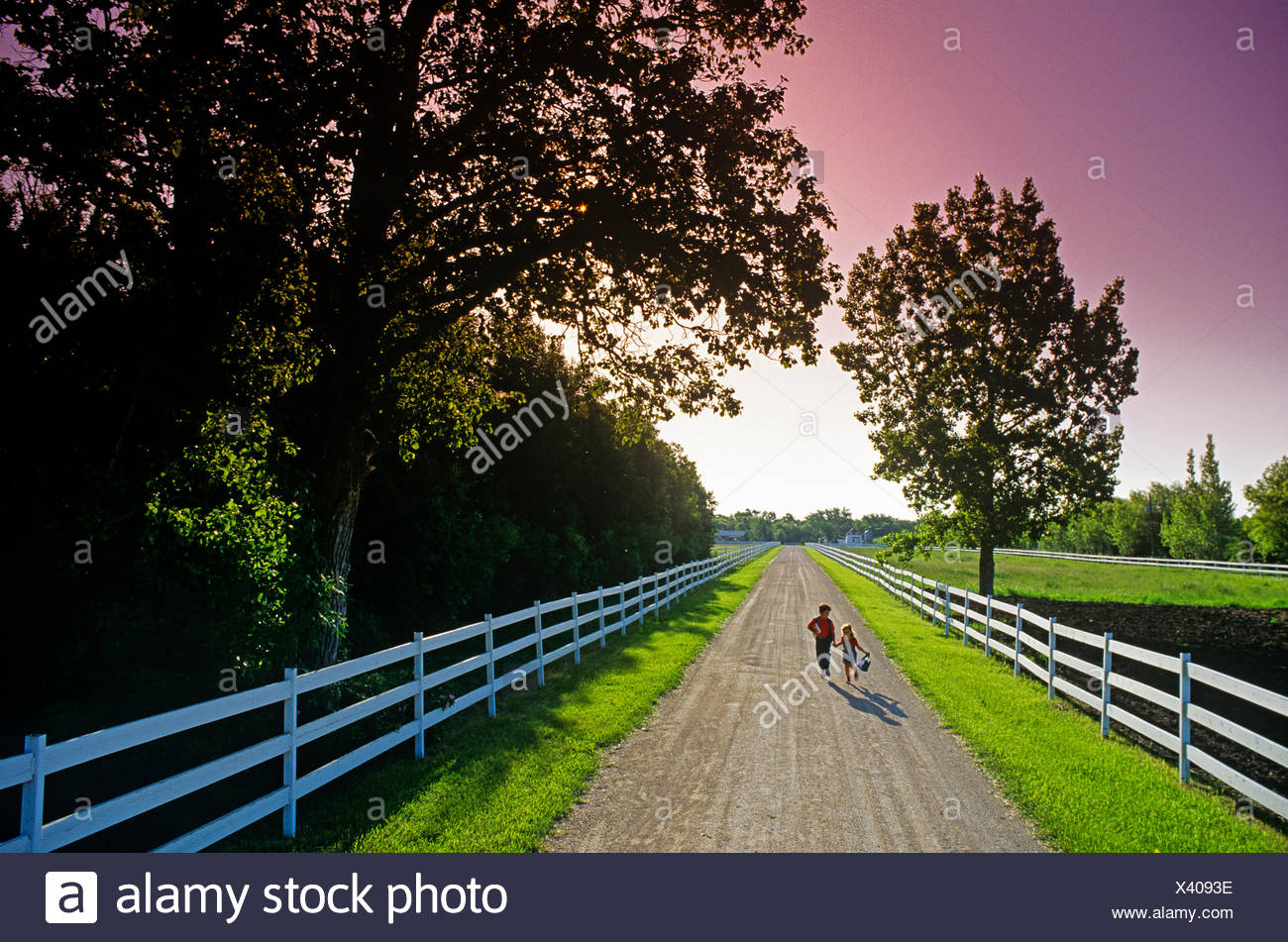 two farm childen run down a country road on their way to school, near Grande Pointe, Manitoba, Canada - Stock Image