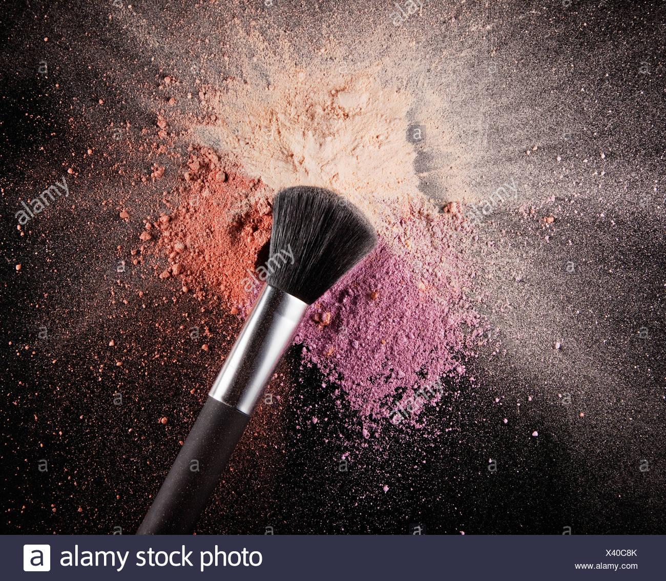 Makeup Brush Over Multicolor Blush Splatter