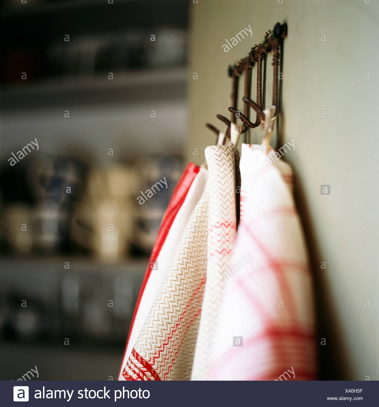 Kitchen towels in a kitchen. - Stock Image