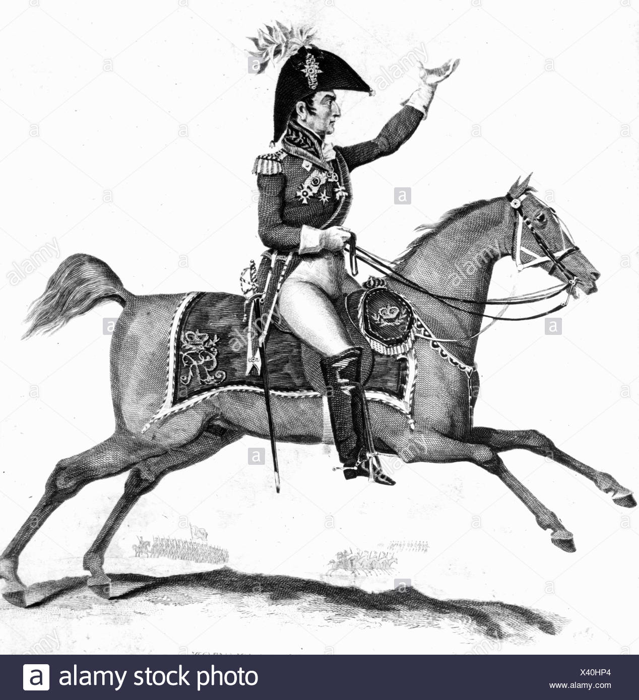 Wellington, Arthur Wellesley Duke of, 1.5.1769 - 14.9.1852, British General and politician, equestrian half length, steel engraving, 19th century,  , Artist's Copyright has not to be cleared - Stock Image