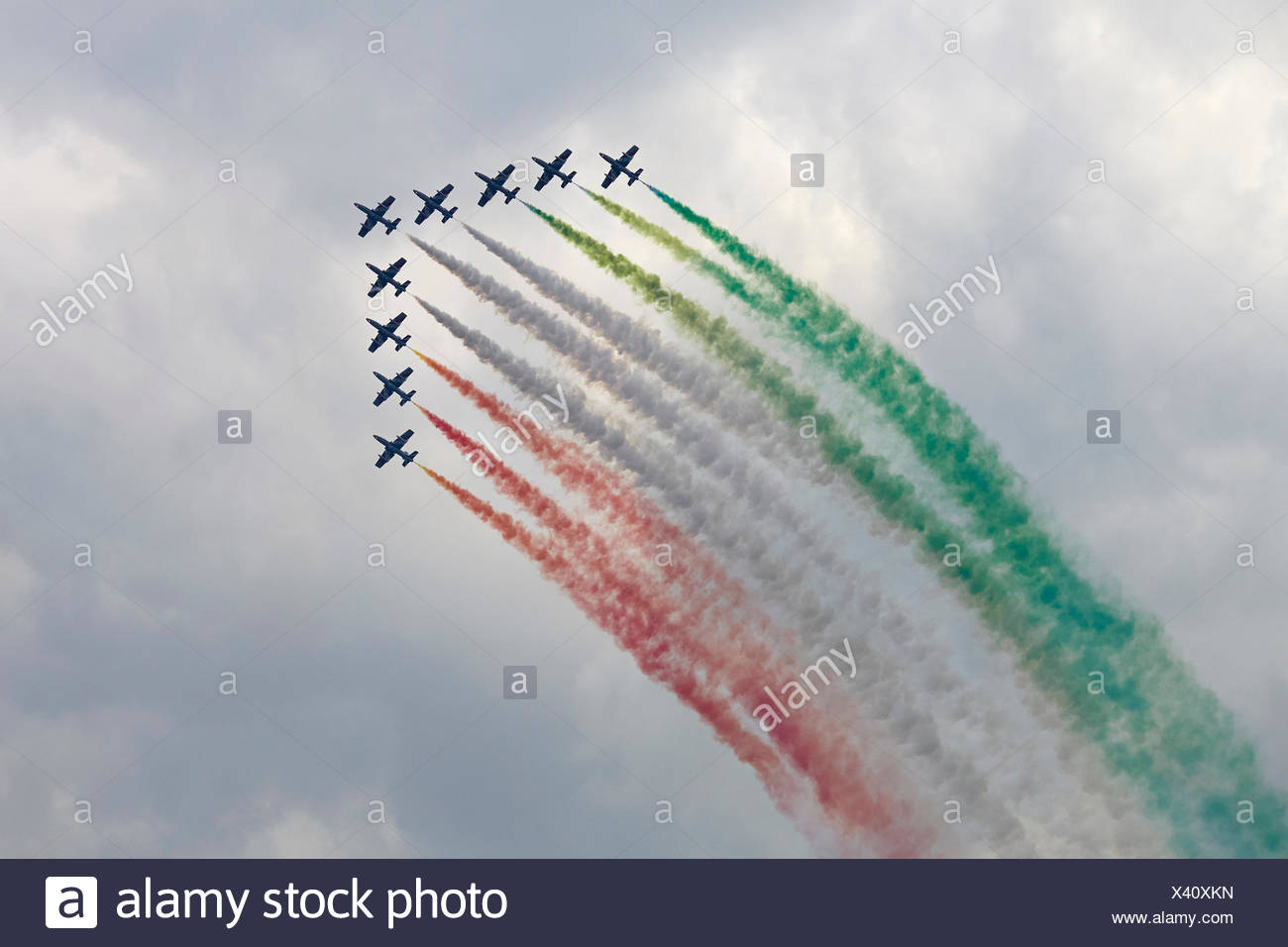 Frecce Tricolori, aerobatic demonstration team, airshow Airpower 2013, Zeltweg, Styria, Austria Stock Photo