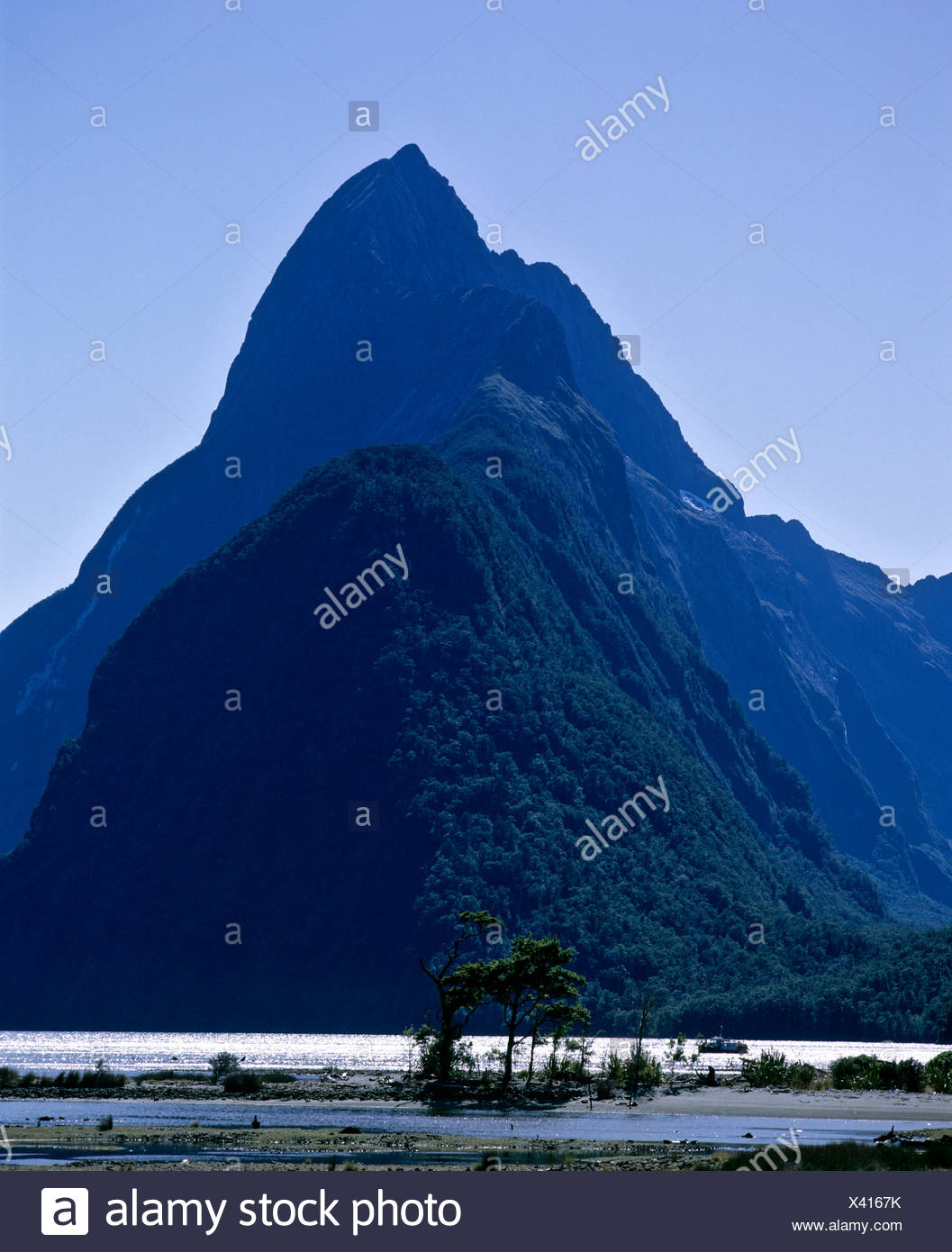 View of Mitre Peak, Milford Sound, Fiordland National Park, South Island, New Zealand Stock Photo