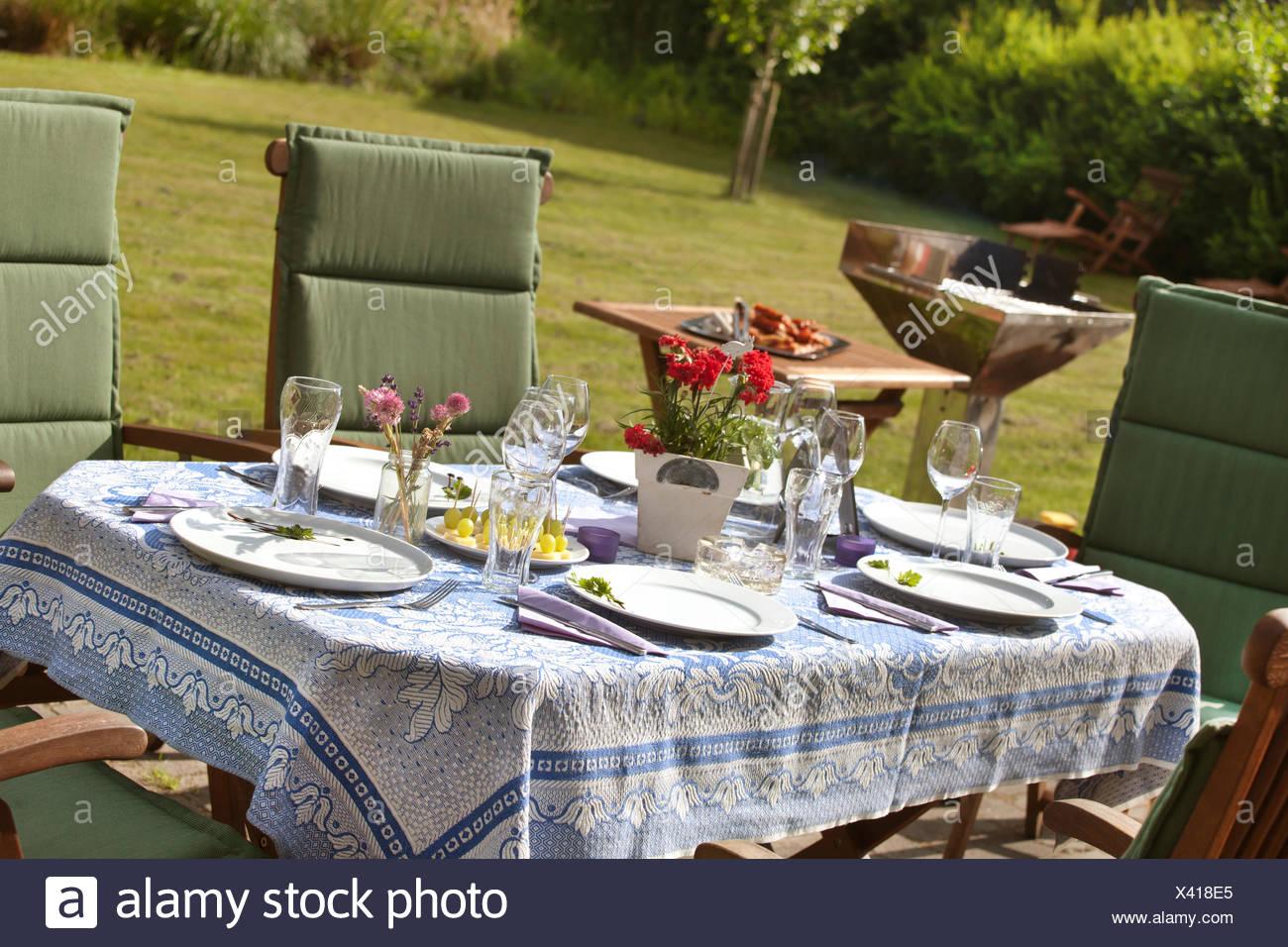 Table Covergarden Picnic Tablegarden Party Stock Photo
