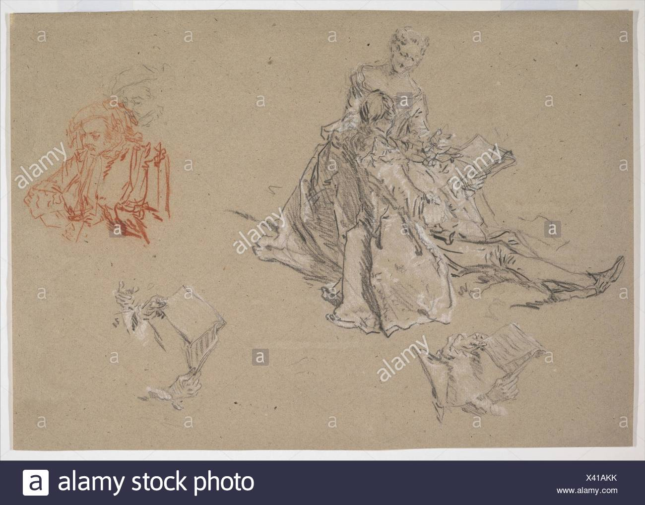 Studies of a Couple Seated on the Ground, Looking at a Songbook. Artist: Nicolas Lancret (French, Paris 1690-1743 Paris); Date: ca. 1740; Medium: - Stock Image