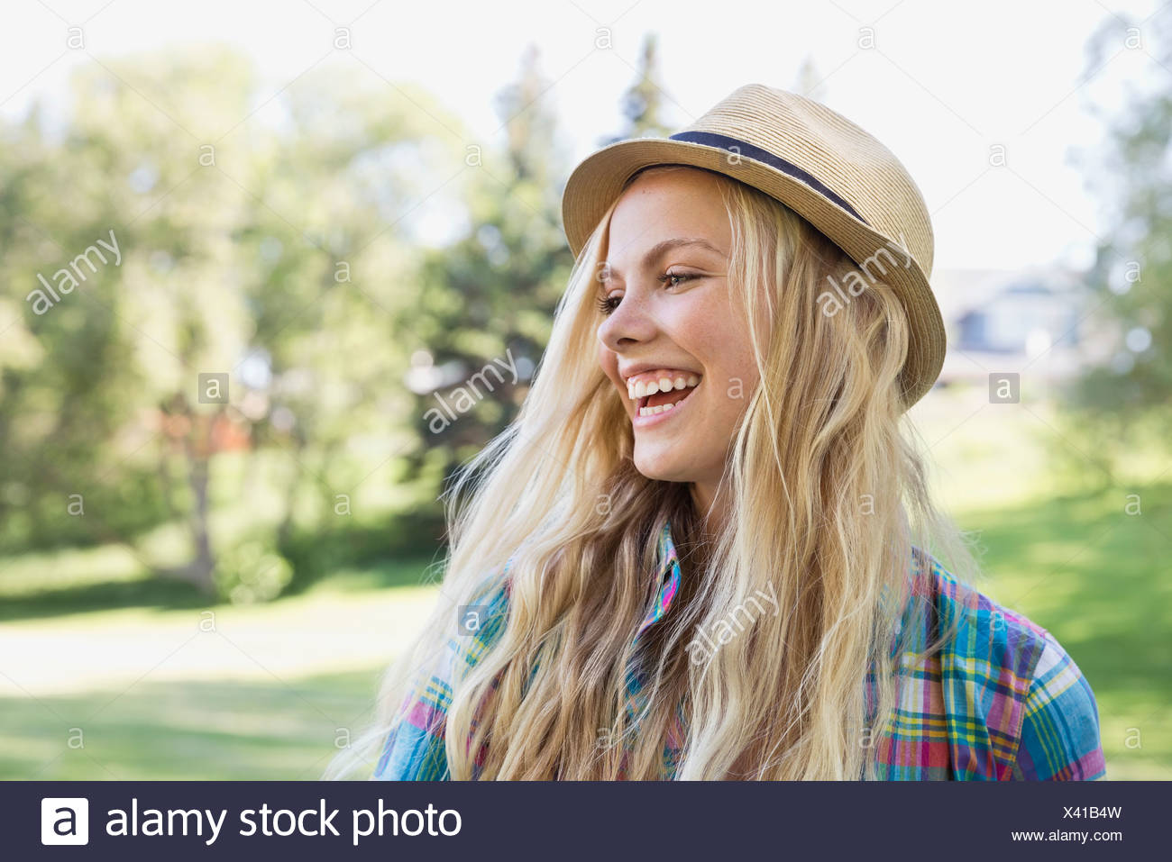 Portrait of teenager wearing a hat - Stock Image