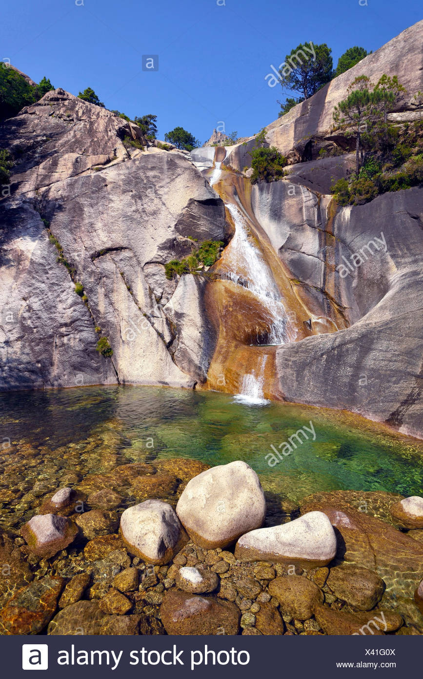 waterfall of Purcaraccia in Bavella mountains, France, Corsica, Bavella - Stock Image