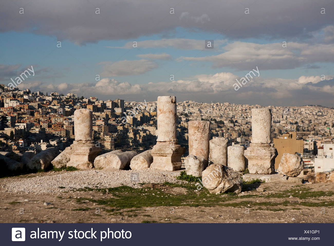 The ruins of the ancient Citadel, or Jebel al-Qal'a. Stock Photo