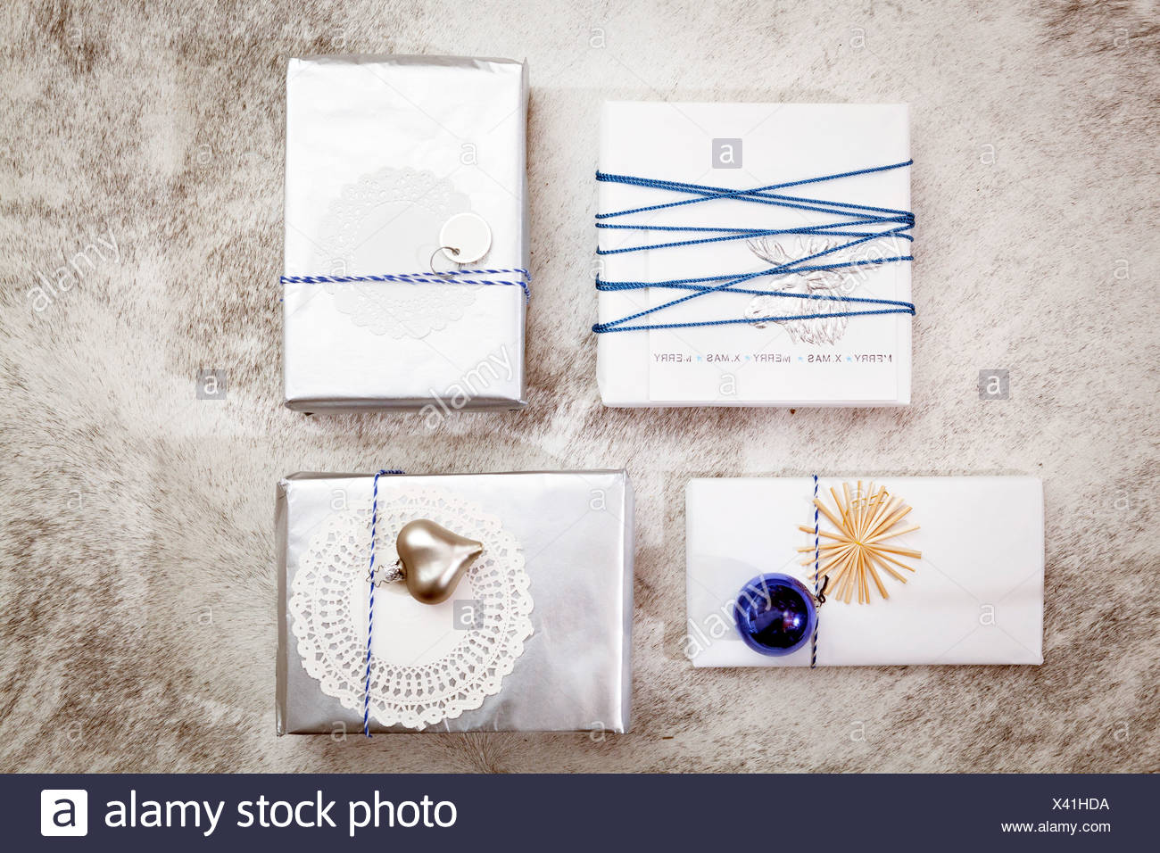 Christmas decoration, variety of gift boxes, Munich, Bavaria, Germany - Stock Image
