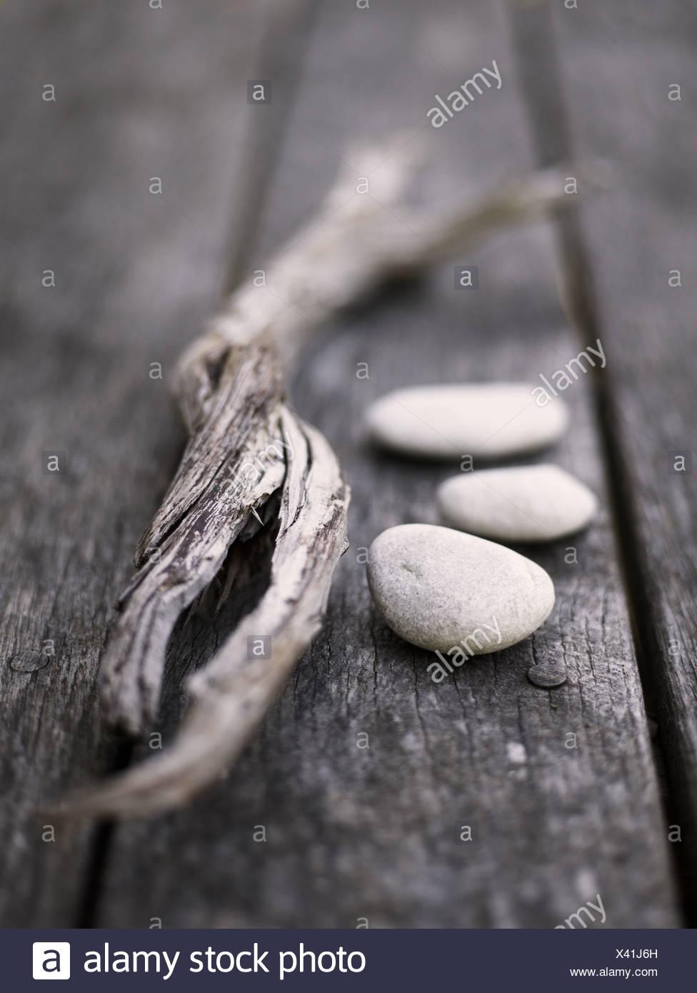 Scandinavia, Sweden, Gotland, Driftwood and pebbles, close-up - Stock Image