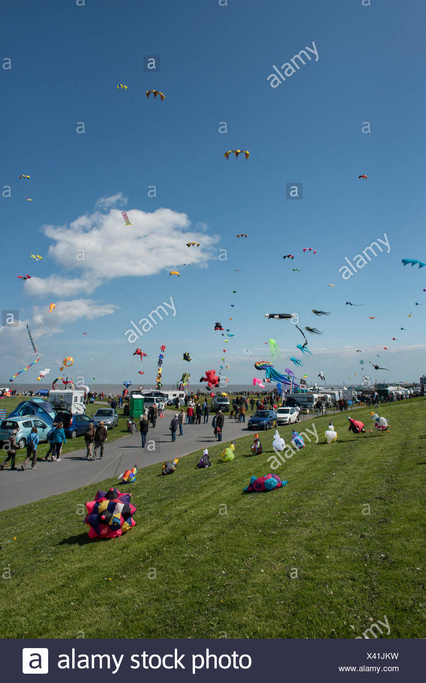 Kites during the Drachenfest kite festival, Norddeich, East Frisia, Lower Saxony - Stock Image