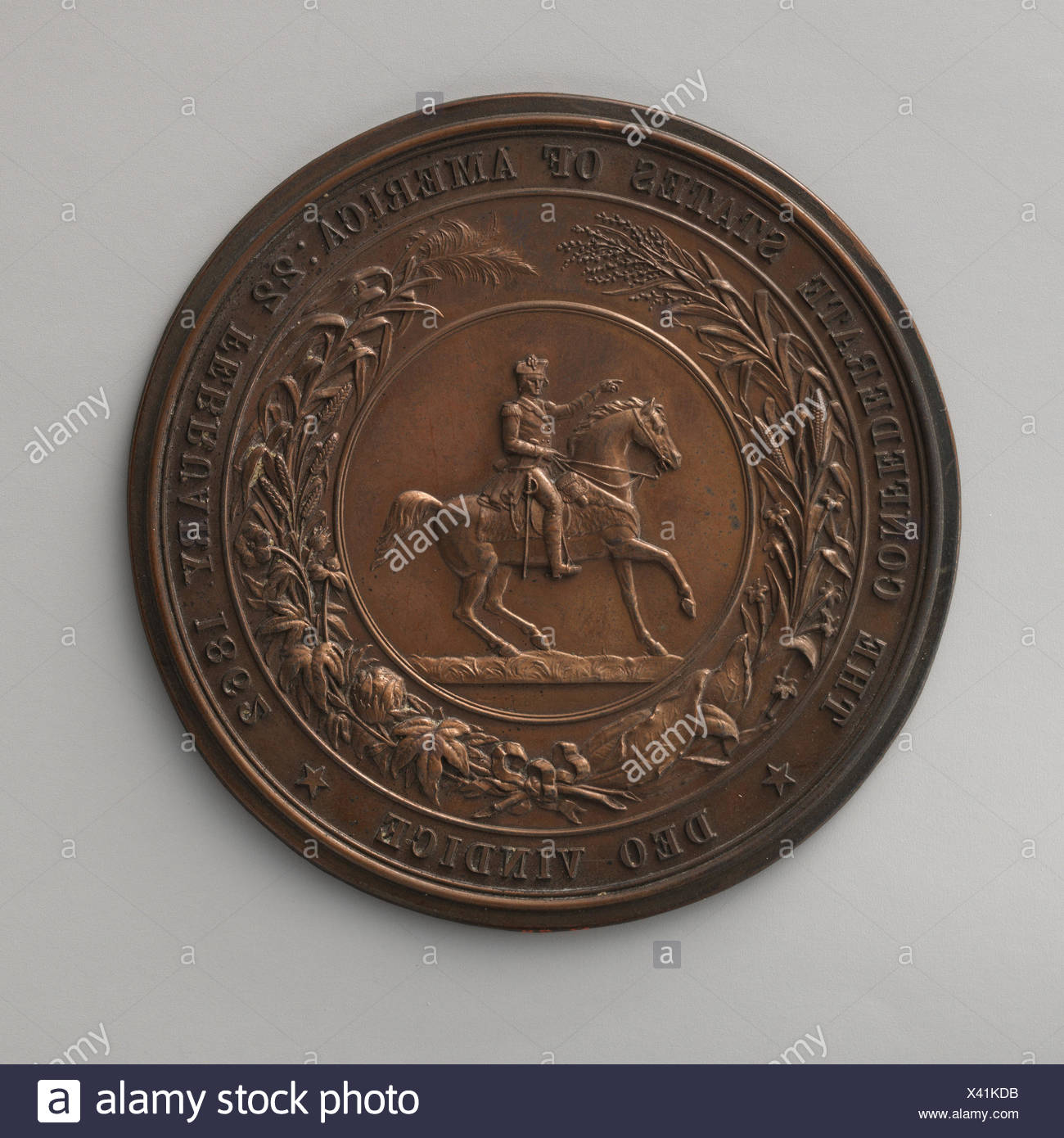Impress of the seal of the Confederate States, 1862. Artist: Medalist: P. A. Foley (1818-1872); Artist: Medalist: Joseph Shepherd Wyon (British, - Stock Image
