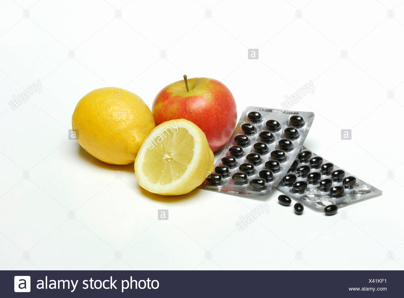 Fruit and nutritional supplement - Stock Image
