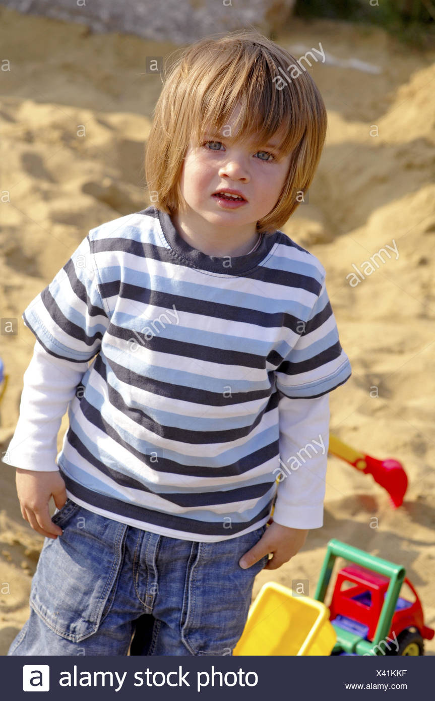 Boy, sandbox, play, - Stock Image