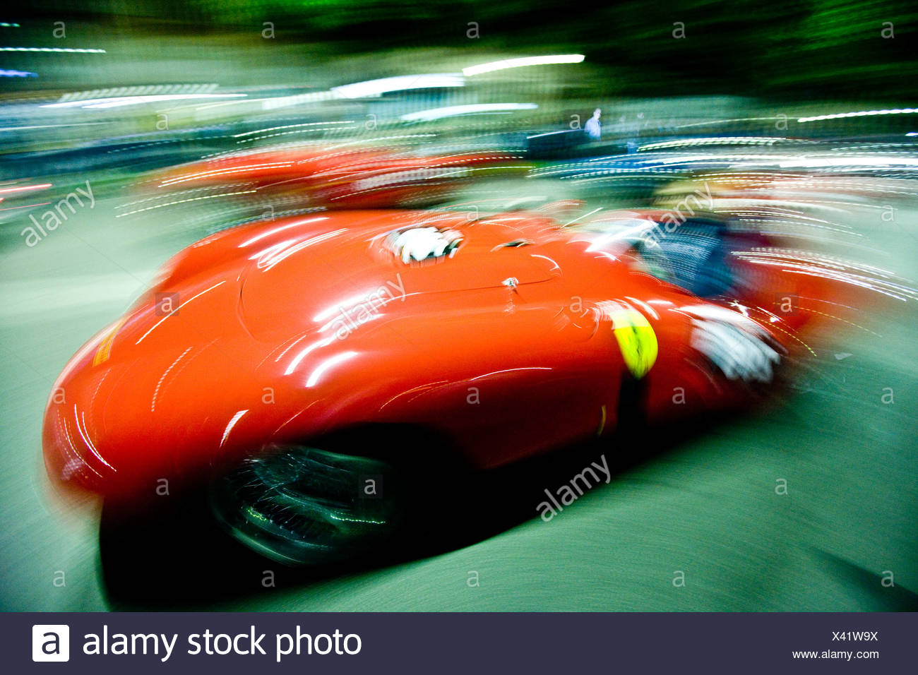 Blurry racing cars, Mille Miglia car race, Italy, 2008 - Stock Image