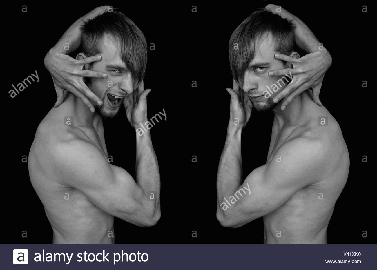 portrait bw gesturing mimic art collage man pose portrait bw gesturing mimic - Stock Image