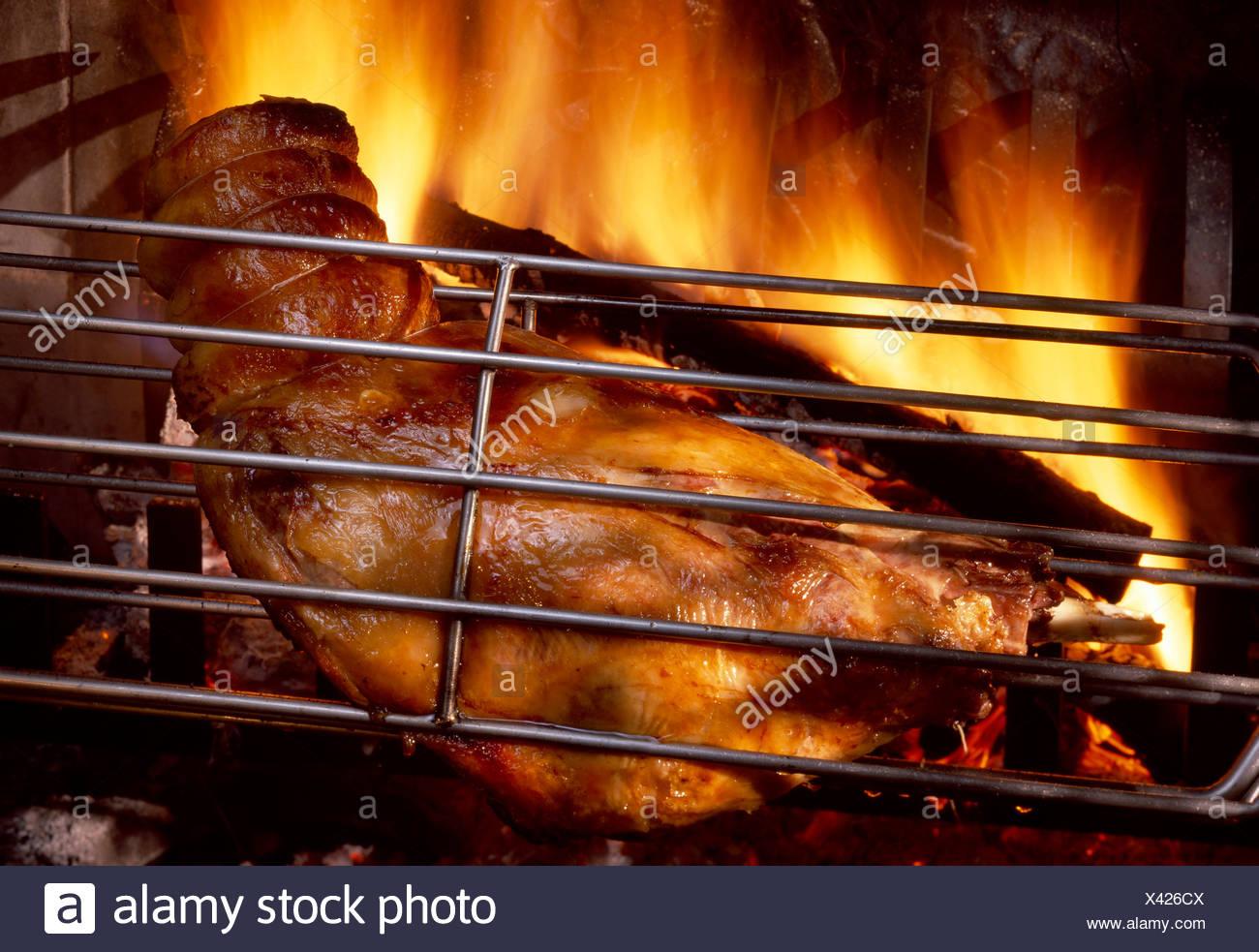 Ducasse wood fire leg of lamb - Stock Image