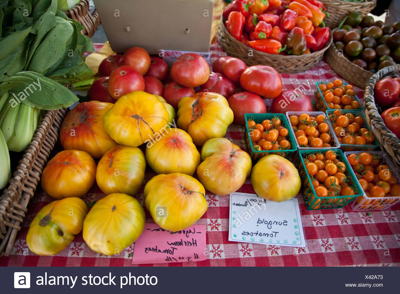Tomatoes at an Organic Vegetable Market - Stock Image