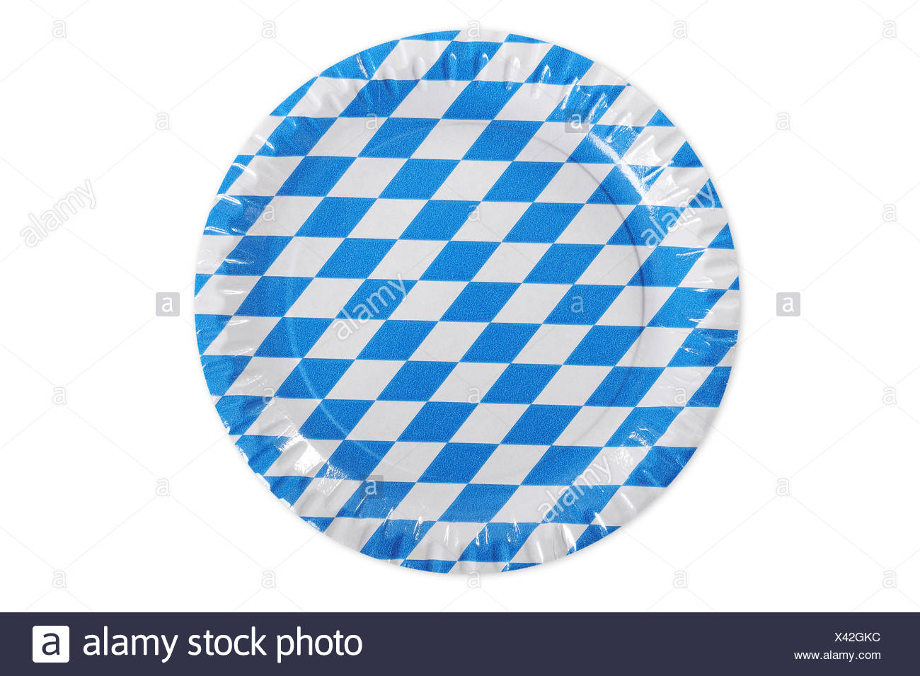 paper plates,blue and white,rhombus - Stock Image