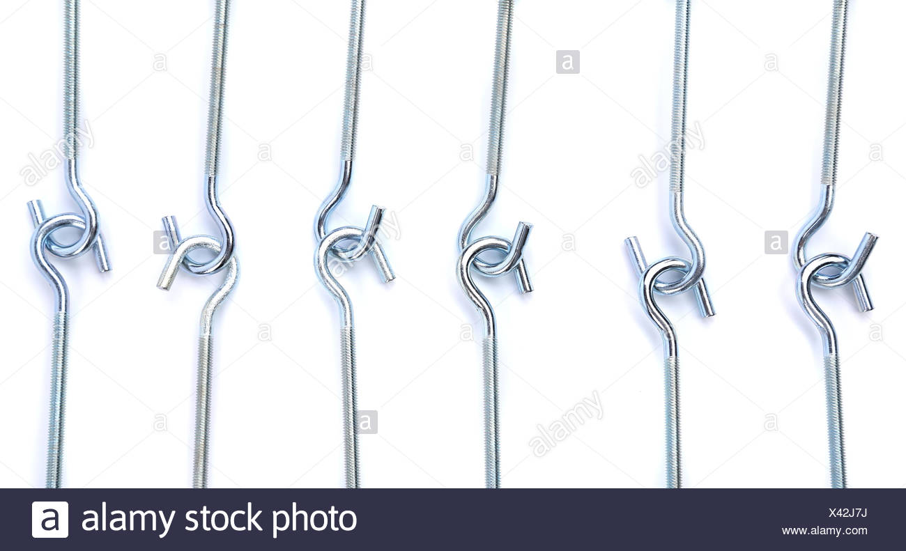 screw-rings are located on a white background - Stock Image