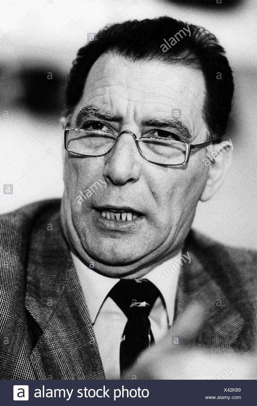 Geuenich, Michael, member of the German Confederation of Trade Unions, portrait, 1985, union, glasses, unionist, - Stock Image