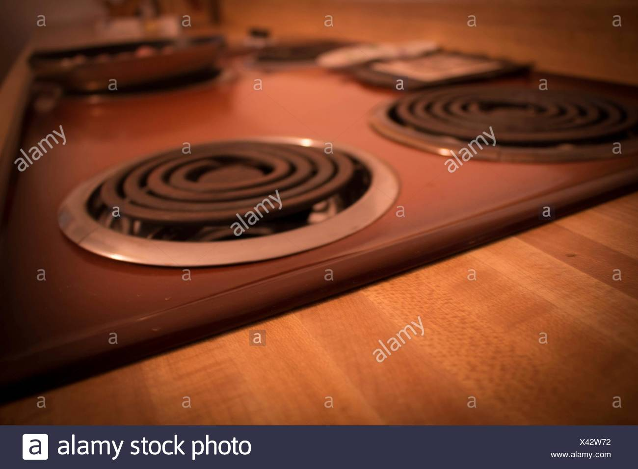 Stove In Kitchen At Home - Stock Image