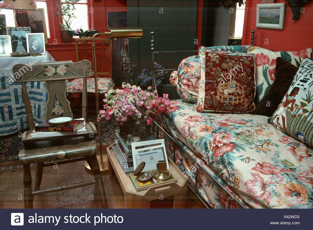 Fine Cushions On Floral Sofa Beside Painted Antique Wooden Chair Gmtry Best Dining Table And Chair Ideas Images Gmtryco