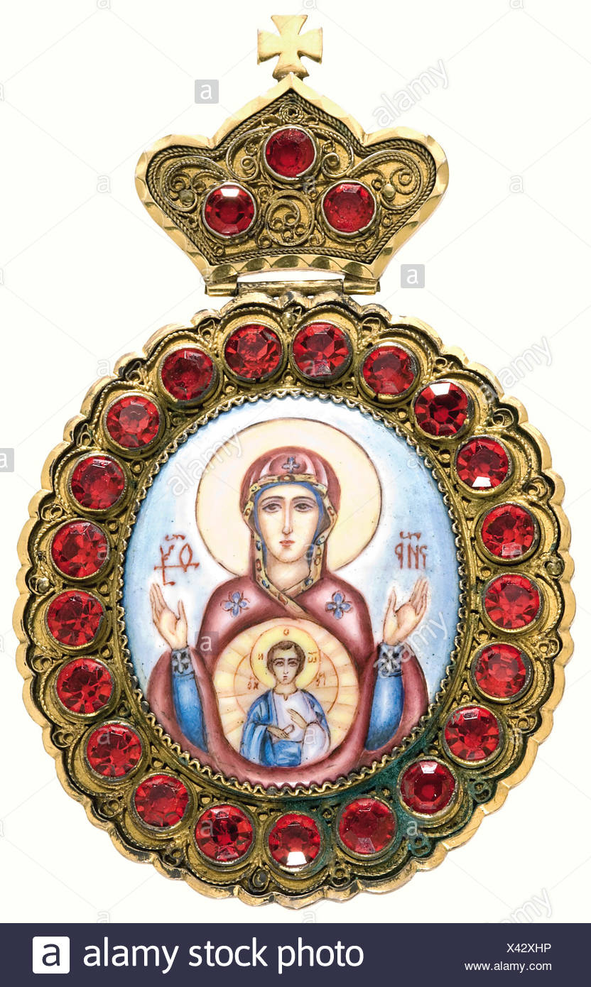 A pectoral of the Russian Orthodox Church., Gilded silver oval medallion (70 x 116 mm) set with red glass stones, bearing an enamel medallion painted with Mary and the infant Jesus, on a hinged crown. Petersburg 84 zolotniki hallmark and maker's mark 'Eb', along with the engraved patriarch's monogram 'PP' are on the back. It comes with the case bearing the gilded and enamelled patriarch's monogram 'PP' on the lid. historic, historical, 19th century, object, objects, stills, clipping, clippings, cut out, cut-out, cut-outs, fine arts, art, art object, art objects, Additional-Rights-Clearances-NA - Stock Image