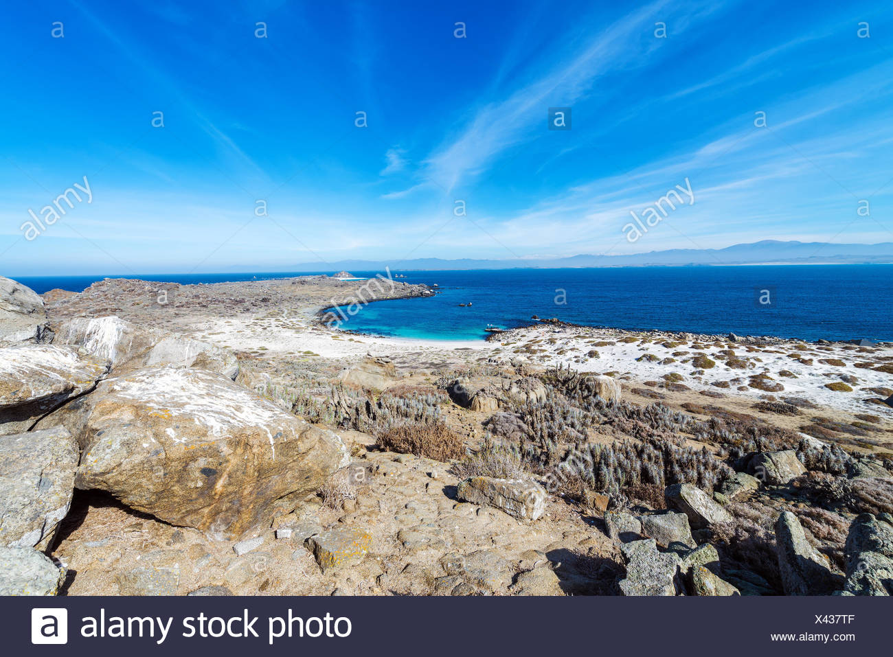 Desert landscape and beach on Damas Island in Chile Stock Photo