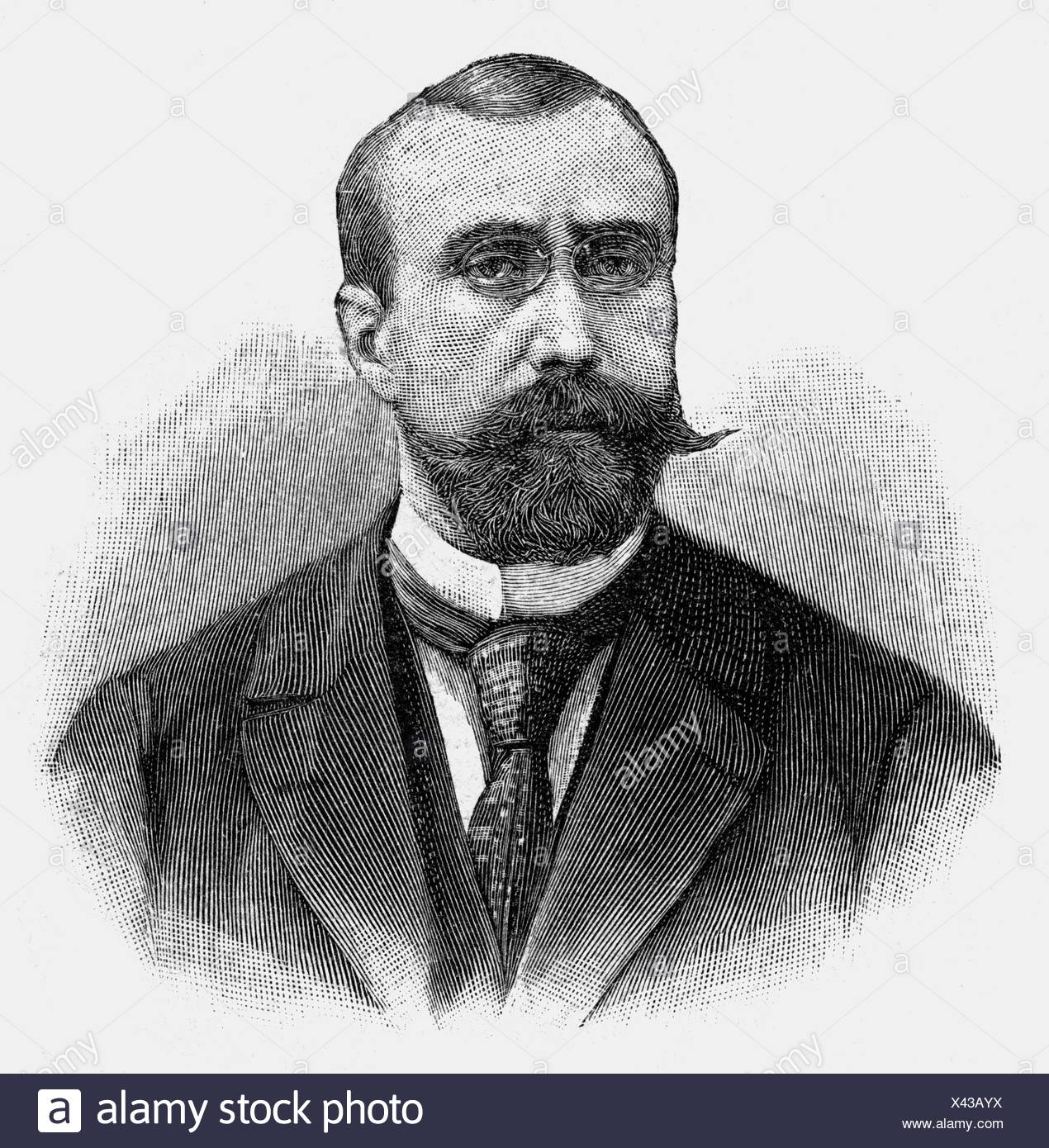 Habert, Marcel, second half of the 19th century, French politician, portrait, wood engraving, Additional-Rights-Clearances-NA - Stock Image