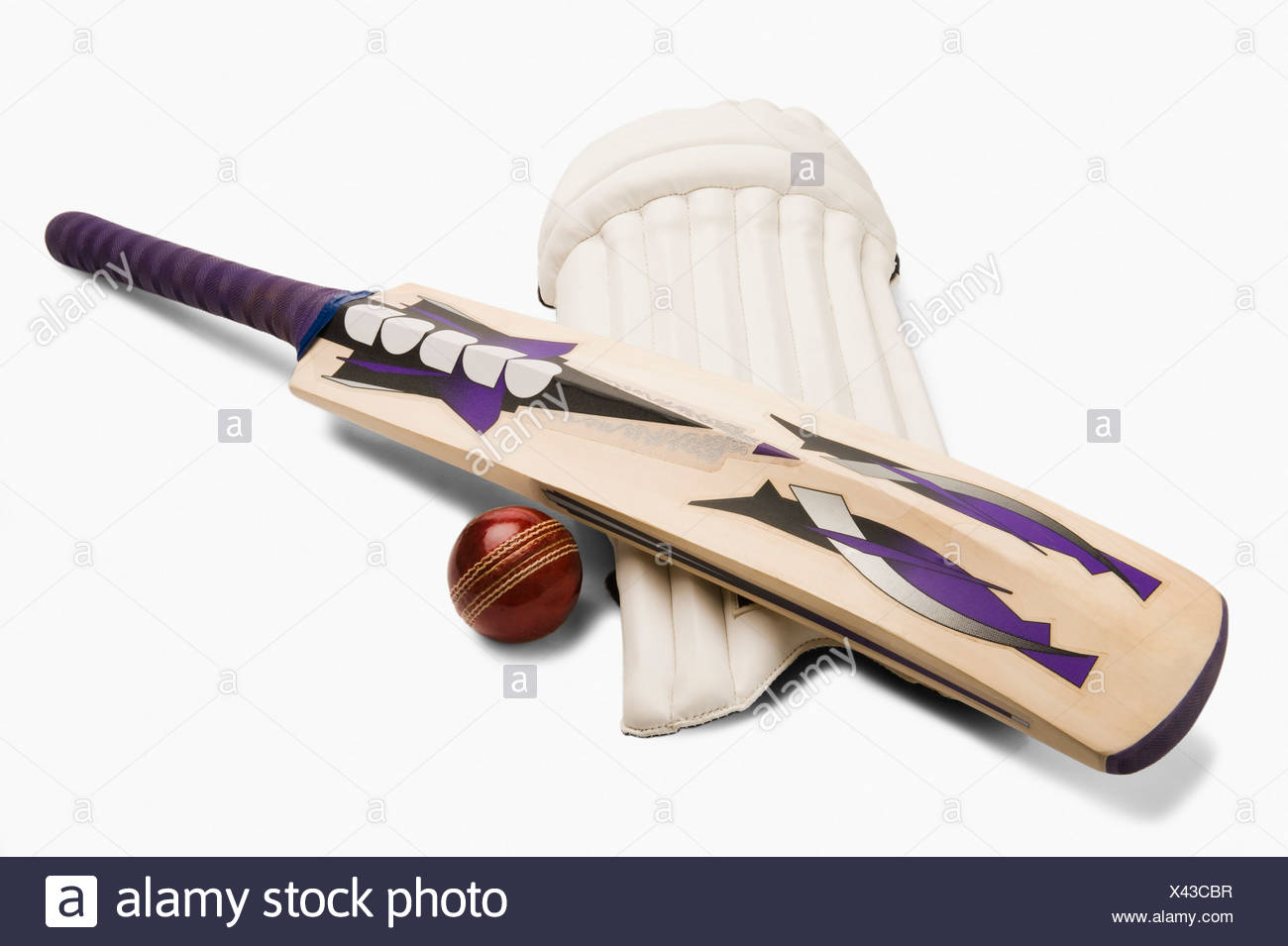 Close-up of cricket equipment - Stock Image