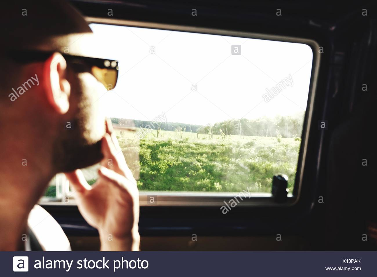 Man Looking At Trees Through Car Window - Stock Image