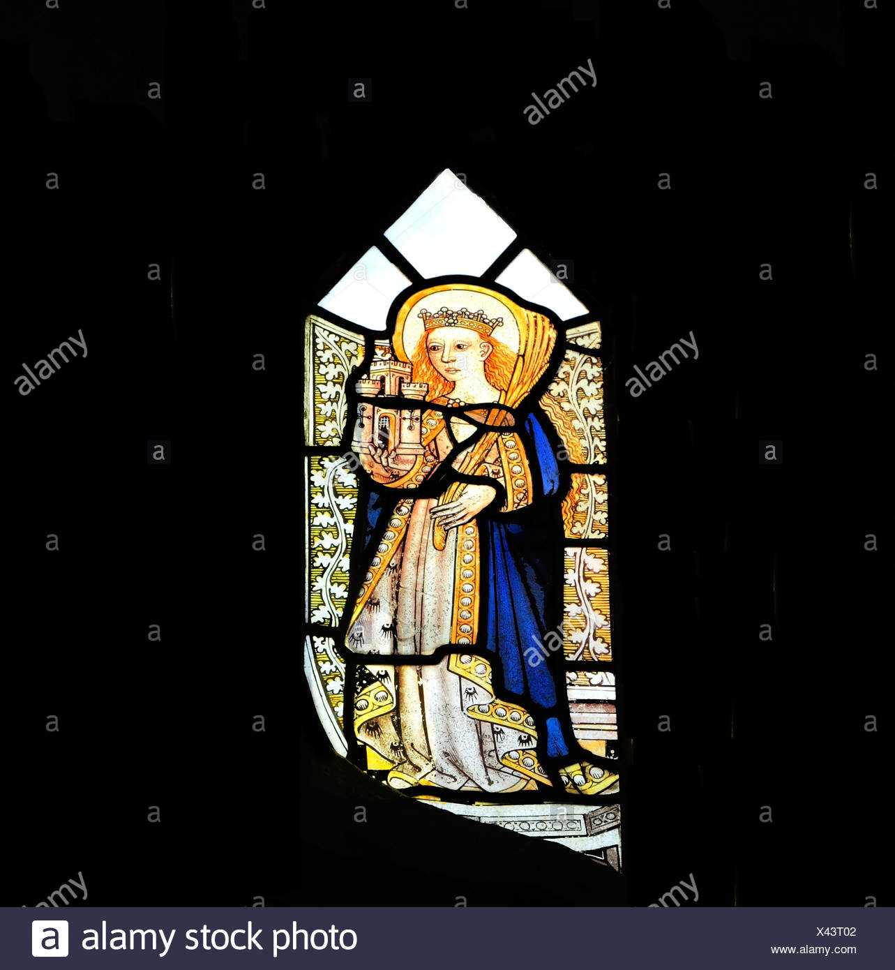 Bawburgh, Norfolk, St. Barbara, 15th century medieval stained glass window, England UK early christian saint saints female - Stock Image