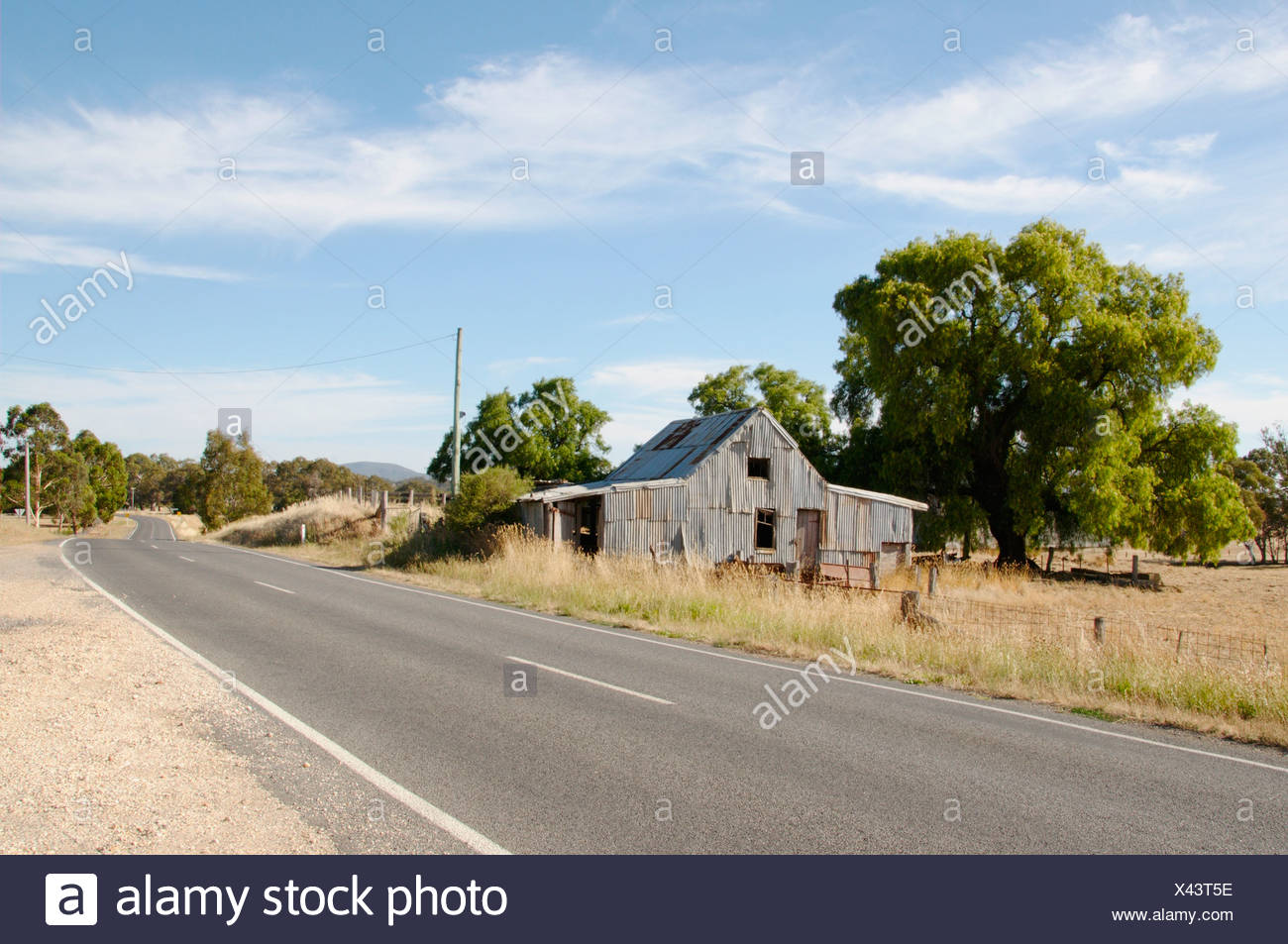 Australia, Central Victoria, Campletown, View of shed on roadside - Stock Image
