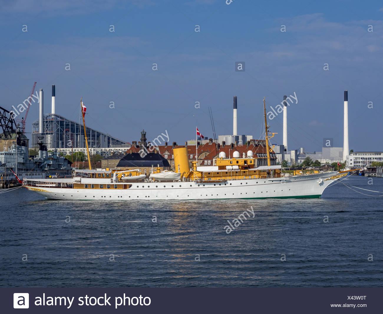 The Danish Royal Yacht Dannebrog, Copenhagen Harbour, Copenhagen, Denmark, Europe - Stock Image