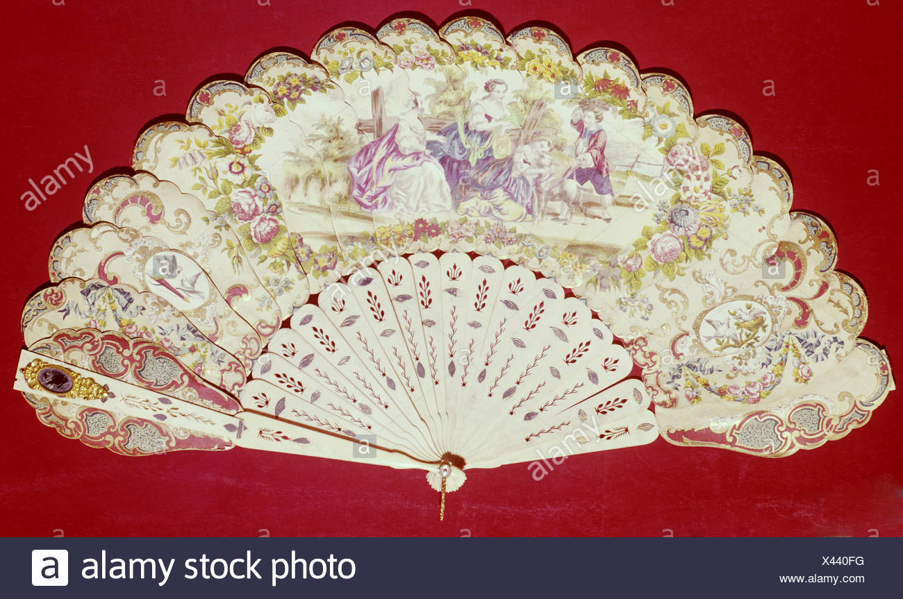 fine arts, fan, painted, probably rococo, 18th century, - Stock Image