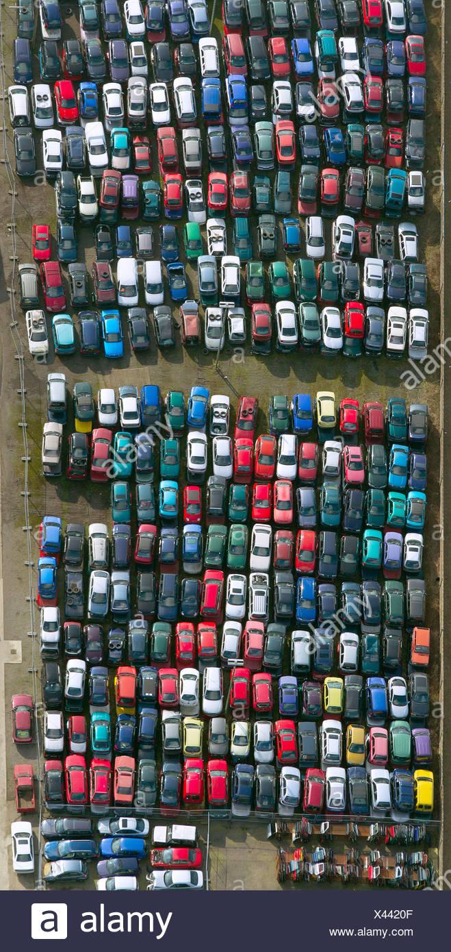 Aerial view, junkyard on Pannovenstrasse, Kleve, Niederrhein region, North Rhine-Westphalia - Stock Image