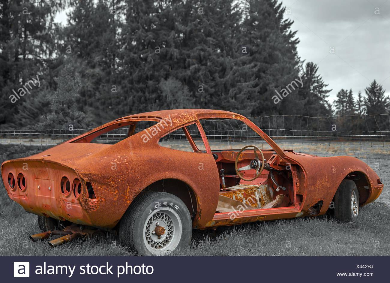 Vintage car in Oregon Stock Photo